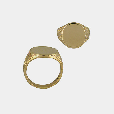 14kt Signet Ring with Carving