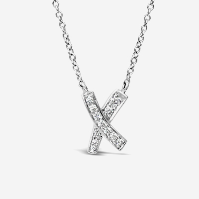 Platinum Tiffany Diamond X Pendant