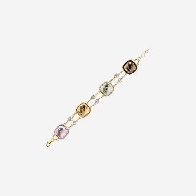 14kt Four Color Stone Bracelet