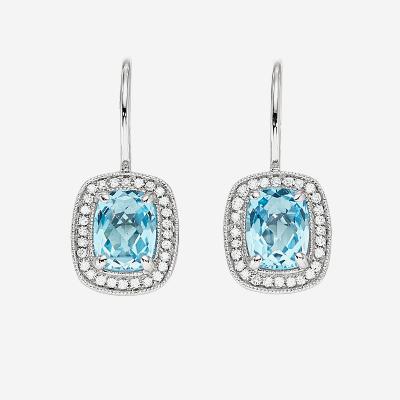 14kt Blue Topaz And Diamond Drop Earrings