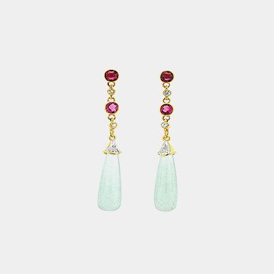 Aquamarine,Pink Tourmaline and Diamond Earrings