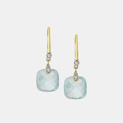 14k Yellow Gold, Aqua Chalcedony And Diamond Earrings