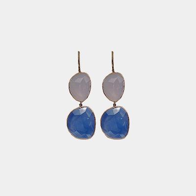 Blue Agate Stone Earrings