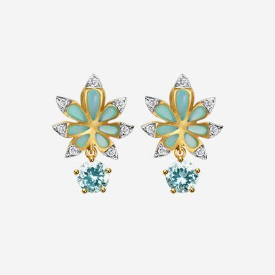 18kt Aquamarine Flower Earrings