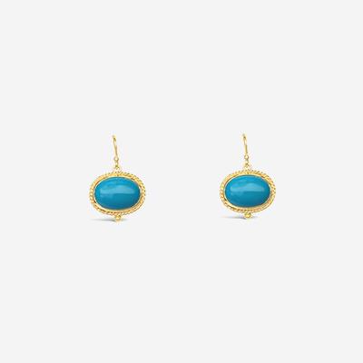 18kt Oval Turquoise Drop Earrings