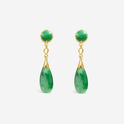 14kt Jadeite Drop Earrings