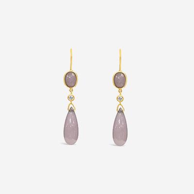 14kt Marquise Lavender Jade Drop Earrings