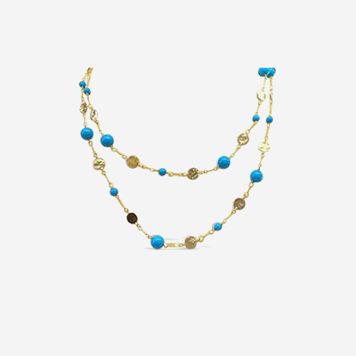 18kt Turquoise and Round Link Necklace