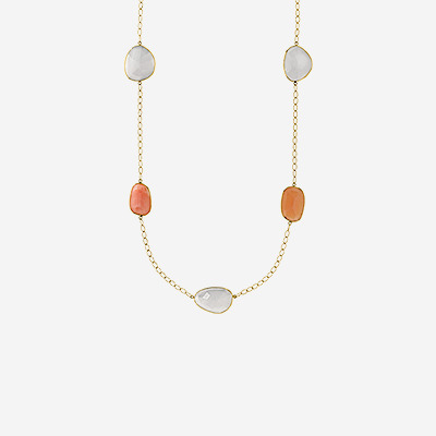 14kt Pink Opal and Lilac Chalcedony Slice Necklace