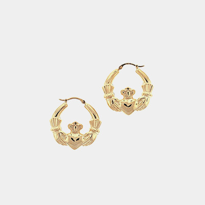 14kt Claddagh Hoop Earrings