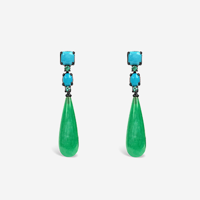 18kt Turquoise, Emerald and Jade Drop Earrings