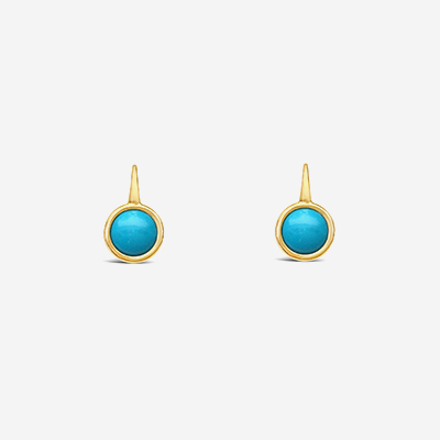18kt Round Turquoise Drop Earrings