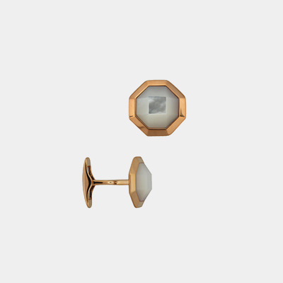 18kt Faceted Mother-Of-Pearl Cufflinks