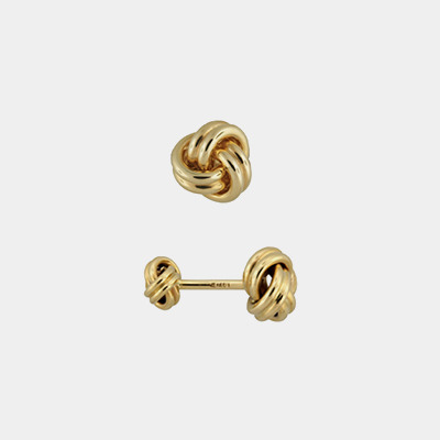 14kt Gold Solid Double Knot Cufflinks