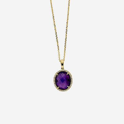 14kt Amethyst and Diamond Pendant