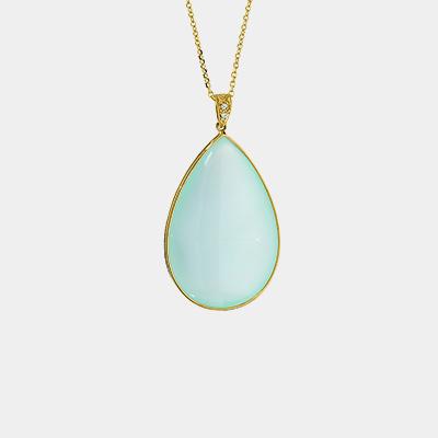 Aqua Chalcedony and Diamond Pendant
