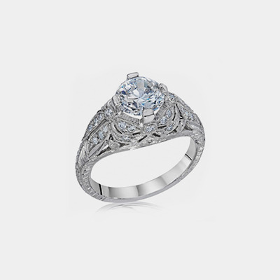 Platinum Antique Style Diamond engagement ring Mounting