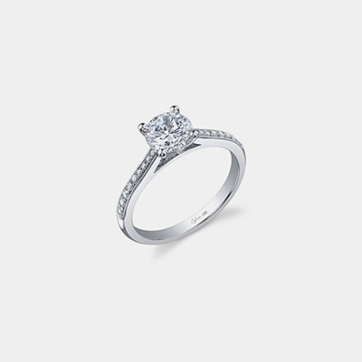 14K Beaded Edge Diamond engagement ring Mounting