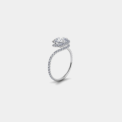 18K Diamond Swirl engagement ring Mounting