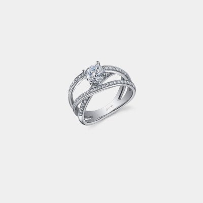 14kt Three Diamond engagement ring Mounting