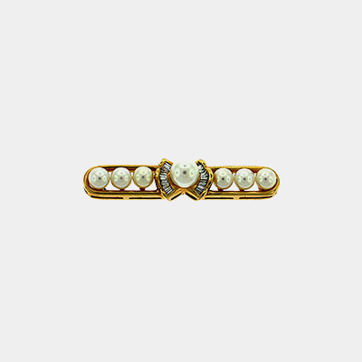 14kt Pearl & Diamond Bar Pin