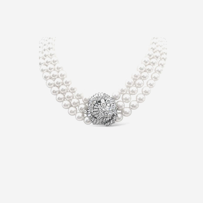 14kt Triple Strand Pearl Necklace with Diamond Cluster Clasp