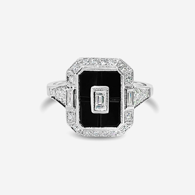 14kt Antique Style Onyx and Diamond Ring