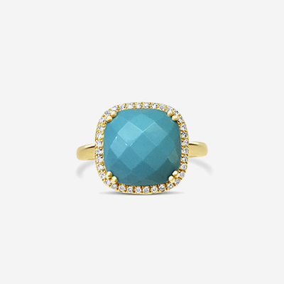 14kt turquoise and diamond ring