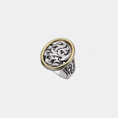 18k Yellow Gold And Sterling Silver Scroll Oval Ring
