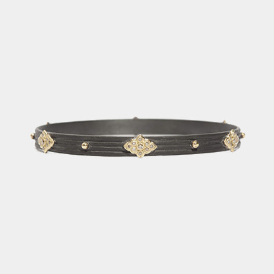 Midnight And Gold Wide Bangle Bracelet