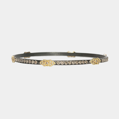 Midnight And Gold Bangle Bracelet With Champagne Diamonds