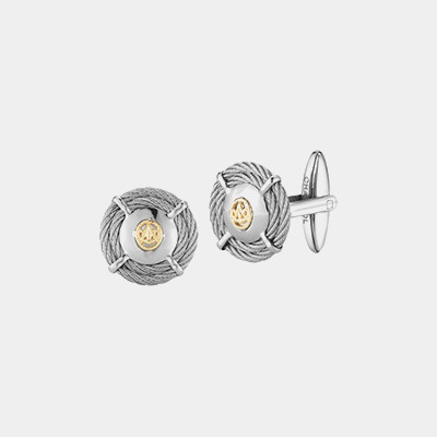 Stainless Steel Round Cable Cufflinks