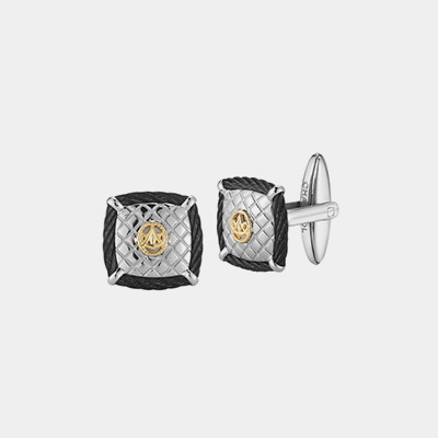Square Quilted Stainless and 18kt Cufflinks