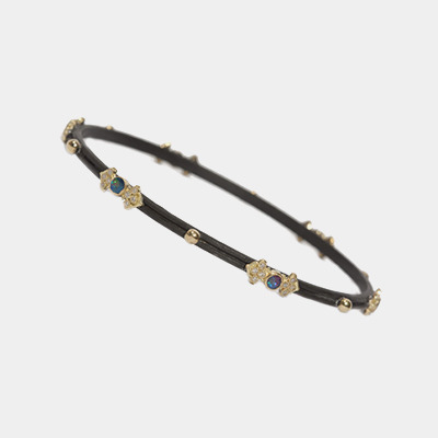 Midnight And Gold Opal Bangle Bracelet