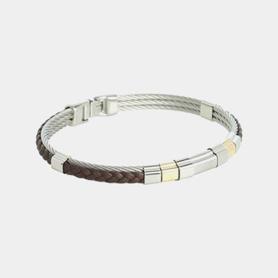 Stainless Steel And Brown Leather Gentlemen's Bracelet