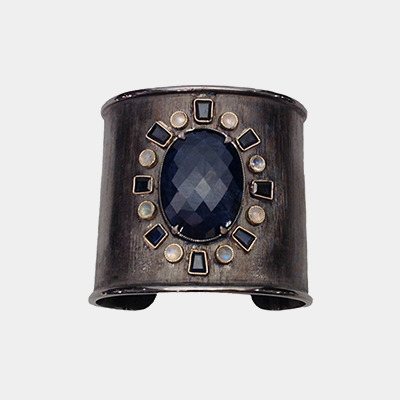 Florentine Finish Wide Cuff Bracelet with Sapphires and Moonstones