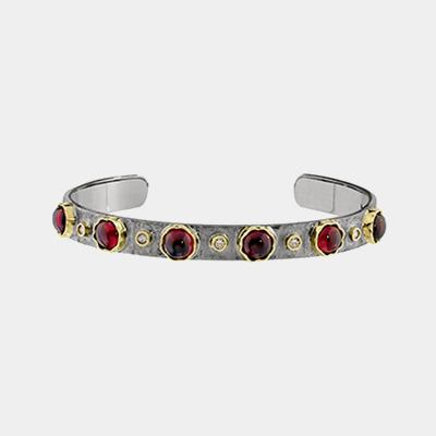 Sterling Silver, Diamond And Garnet Bracelet