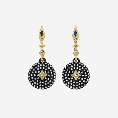 Small Shield Earrings with Diamond and Sapphires
