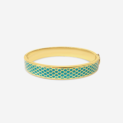 18kt Salamander Turquoise Hinged Bangle