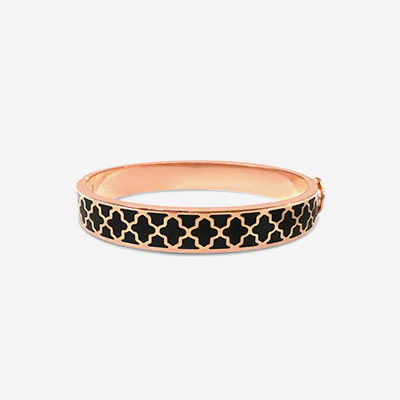 18kt Agama Black Hinged Bangle