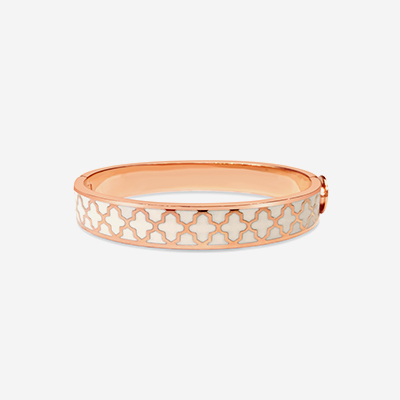 18kt Agama Cream Hinged Bangle