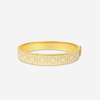18kt Mosaic Cream Hinged Bangle