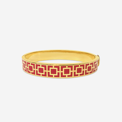 18k Mosaic Red Hinged Bangle