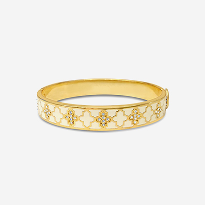 18kt Agama Sparkle Cream Hinged Bangle