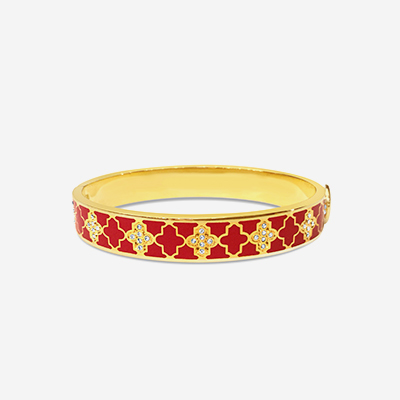18kt Agama Sparkle Red Hinged Bangle
