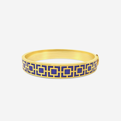 18kt Mosaic Blue Hinged Bangle