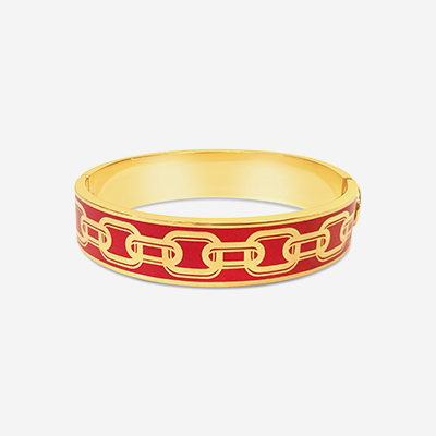18kt Chain Red Hinged Bangle