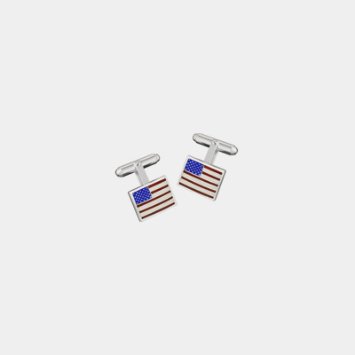 Sterling Silver Hand Enameled American Flag Cufflinks