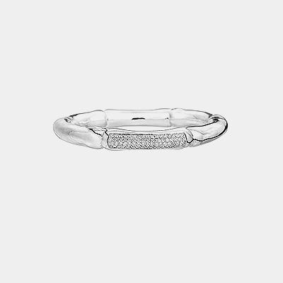Bamboo Shaped Bracelet with Diamonds