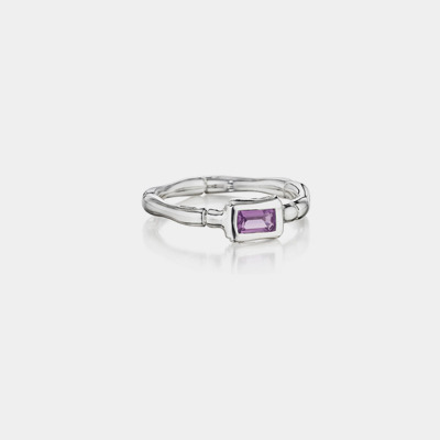 Sterling Silver And Amethyst Bamboo Stacking Ring